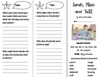 Sarah, Plain and Tall Trifold - Journeys 3rd Grade Unit 5 Week 1 (2014, 2017)