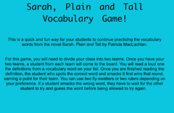 Sarah, Plain and Tall Vocab Game