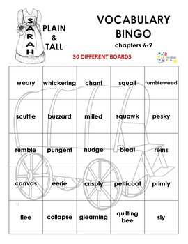 Sarah Plain and Tall Vocabulary Bingo