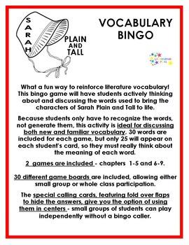 Sarah Plain and Tall Vocabulary Bingo