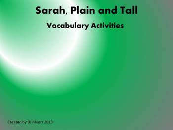 Sarah Plain and Tall Vocabulary Unit
