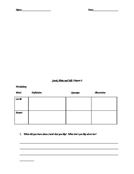 Sarah Plain and Tall Vocabulary and Comprehension Questions - Novel Guide