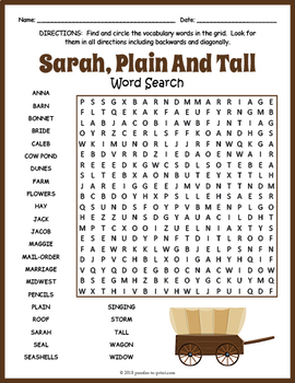 Sarah, Plain and Tall Word Search