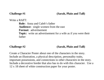 """Sarah, Plain and Tall"", by P. MacLachlan, Project Challenges"
