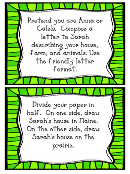 Sarah, Plain and Tall task cards