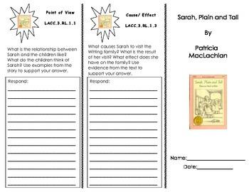 Sarah, Plain and Tall trifold/ Journeys HMH 3rd Grade Series
