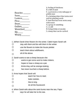 Sarah, Plain and Tall vocab and comprehension quiz chapters 4-6