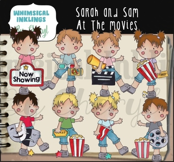 Sarah and Sam At The Movies Clipart Collection