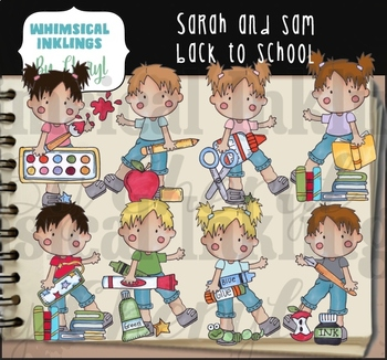 Sarah and Sam Back to School Clipart Collection