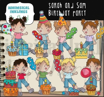 Sarah and Sam Birthday Party Clipart Collection