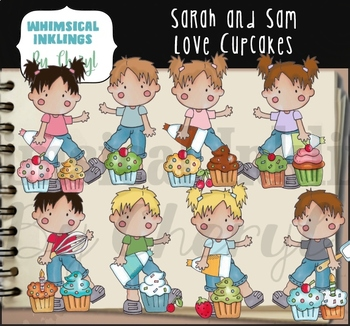 Sarah and Sam Love Cupcakes Clipart Collection