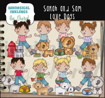 Sarah and Sam Love Dogs Clipart Collection