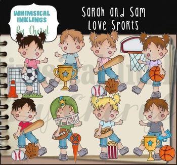 Sarah and Sam Love Sports Clipart Collection