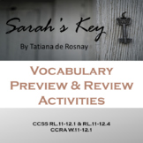 Sarah's Key Vocabulary, Pre-Reading and Post Reading Activities