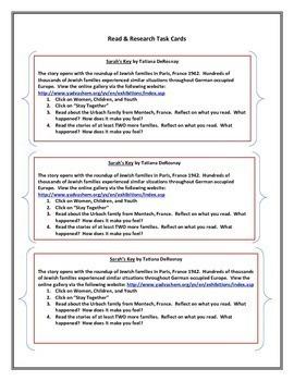 Sarah's Key - Research Task Cards
