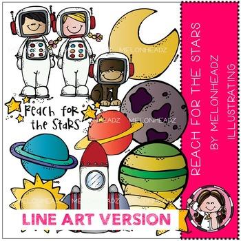 Reach for the stars clip art - LINE ART - by Melonheadz