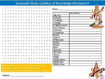 Saraswati Indian Goddess Wordsearch Puzzle Sheet Keywords Hindu Religion