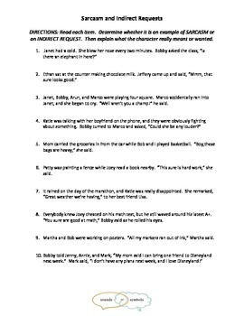 Sarcasm and Indirect Requests Worksheet