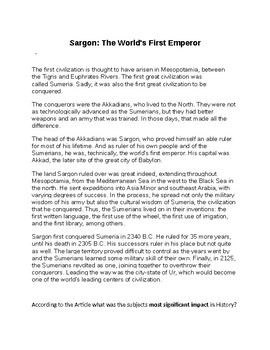Sargon the Great Article and Assignment