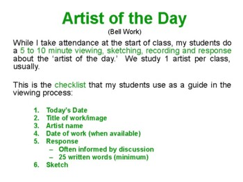 Saskatchewan Artist of the Day PowerPoint!  (Bell Work)