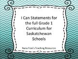 Saskatchewan Grade 1 Curriculum I Can Statements