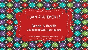 Saskatchewan Grade 3 Health I Can Statement Posters