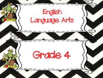 Saskatchewan Grade 4 ELA I Can Statement Posters in Black/White Chevron