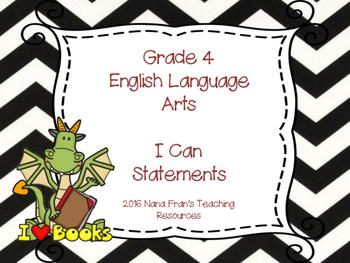 Saskatchewan Grade 4 ELA I Can Statement Posters in Black/