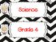 Saskatchewan Grade 4 Science I Can Statement Posters in Black/White Chevron