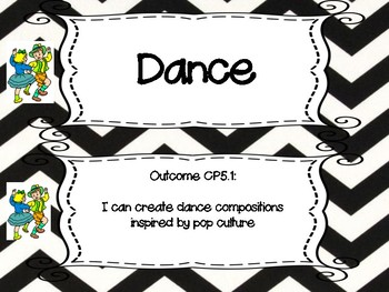 Saskatchewan Grade 5 Arts Education I Can Statement Posters in B/W Chevron