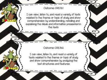 Saskatchewan Grade 5 ELA I Can Statement Posters in Black/White Chevron