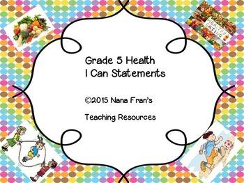 Saskatchewan Grade 5 Health I Can Statement Posters