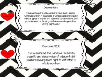 Saskatchewan Grade 5 Math I Can Statement Posters in Black/White Chevron