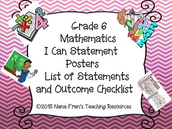 Saskatchewan Grade 6 Math I Can Statement Poster Bundle