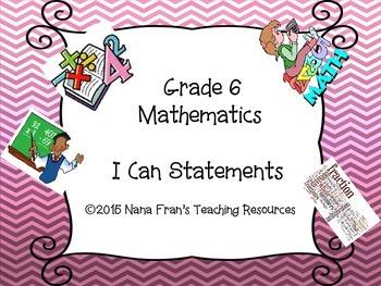 Saskatchewan Grade 6 Math I Can Statement Posters