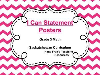 Saskatchewan I Can Statement Posters Math Grade 3