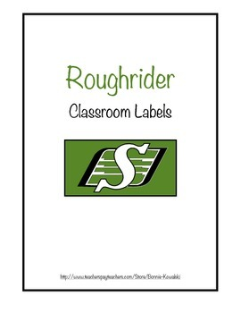 Saskatchewan Roughrider themed classroom labels (blank)