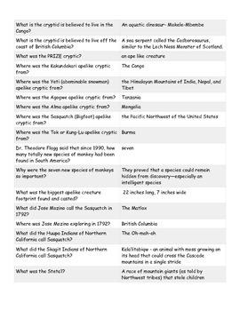 Sasquatch Quiz