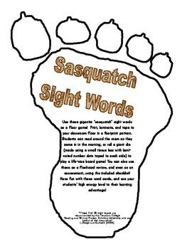 Sasquatch Sight Words