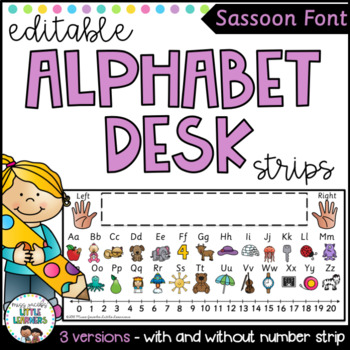 Sassoon Font Alphabet Desk Strip with Number Line {Editable}