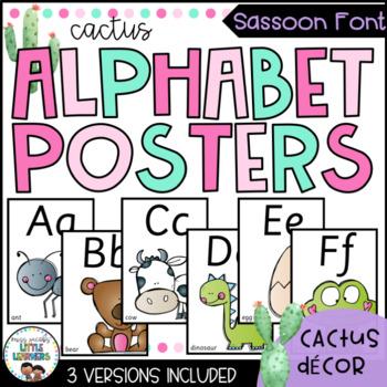 Sassoon Font Alphabet Posters | Cactus Theme