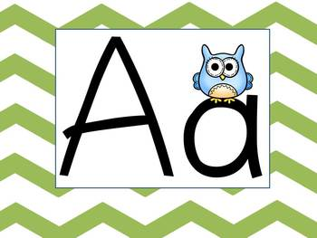 Sassy Green Chevron and Owl Wall Alphabet