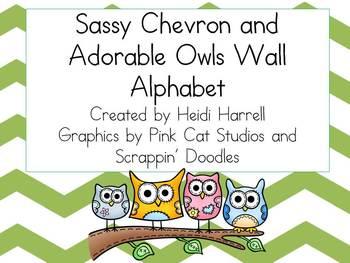 Sassy Green Chevron and Owl Wall Alphabet