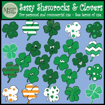 Sassy Shamrocks and Clovers Clip Art {Messare Clips and Design}