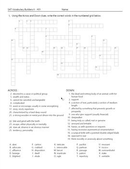 SAT Vocabulary Builder Crosswords 001-003