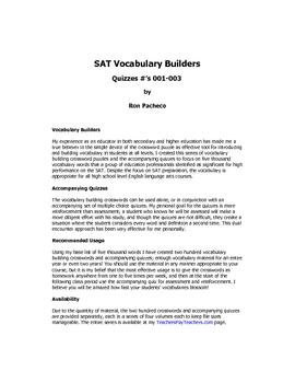 SAT Vocabulary Builder Quizzes 001-003