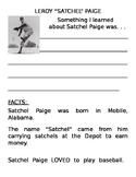 Satchel Paige - Basic Worksheet for Kindegarten