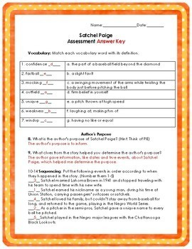 Satchel Paige KID FRIENDLY Reading Street Test
