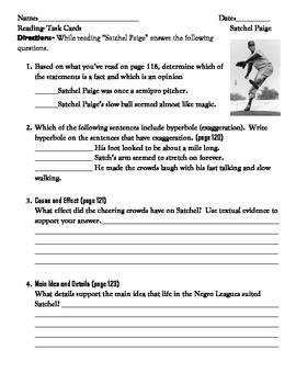 Satchel Paige Partner work Task Card and Worksheet