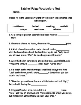 Satchel Paige Vocabulary Test and Vocabulary Dominoes
